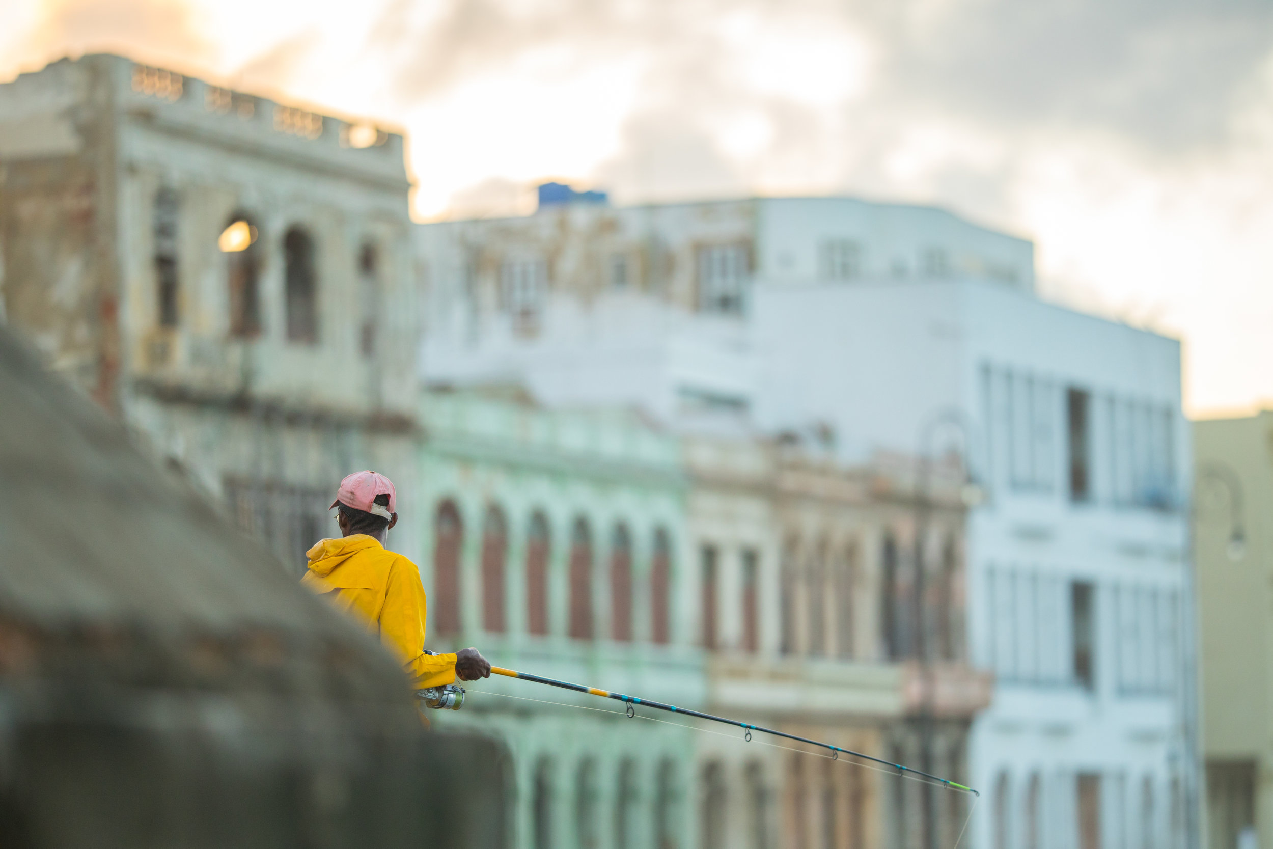 7.  Fisherman on the beautiful malecon of Havana in Cuba.