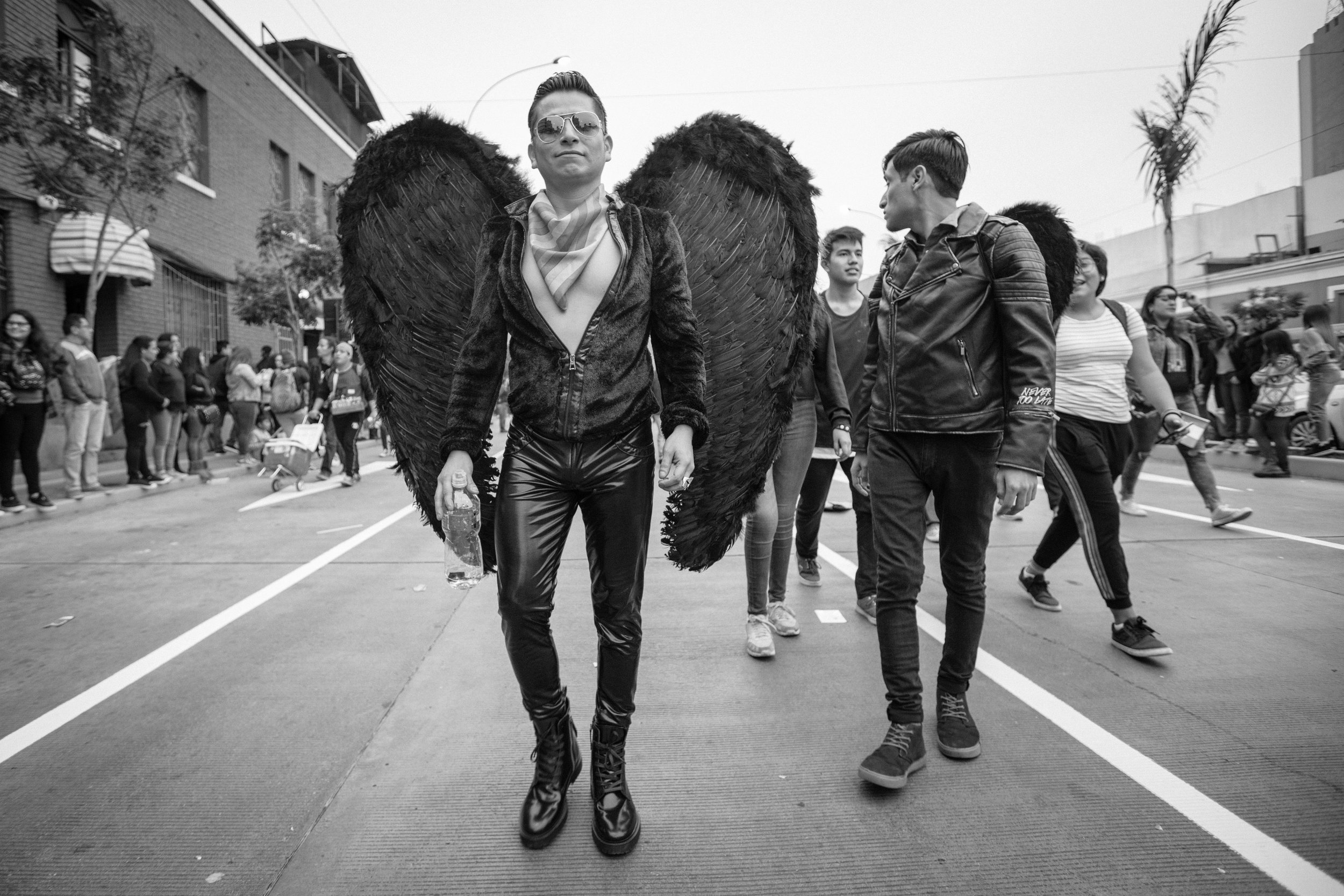 Candid street photography at the LGBT Lima Pride.