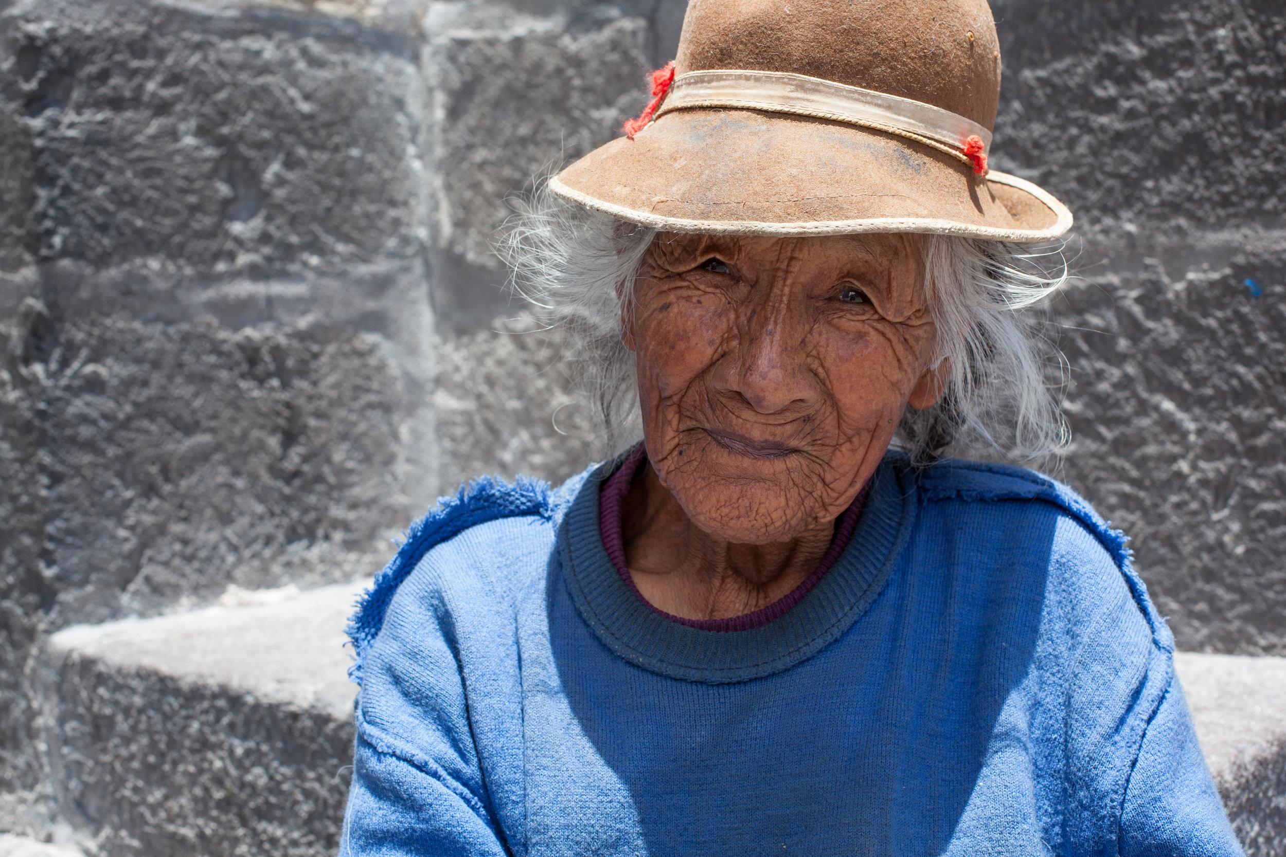Portrait of a beautiful elderly lady in Arequipa, Peru.