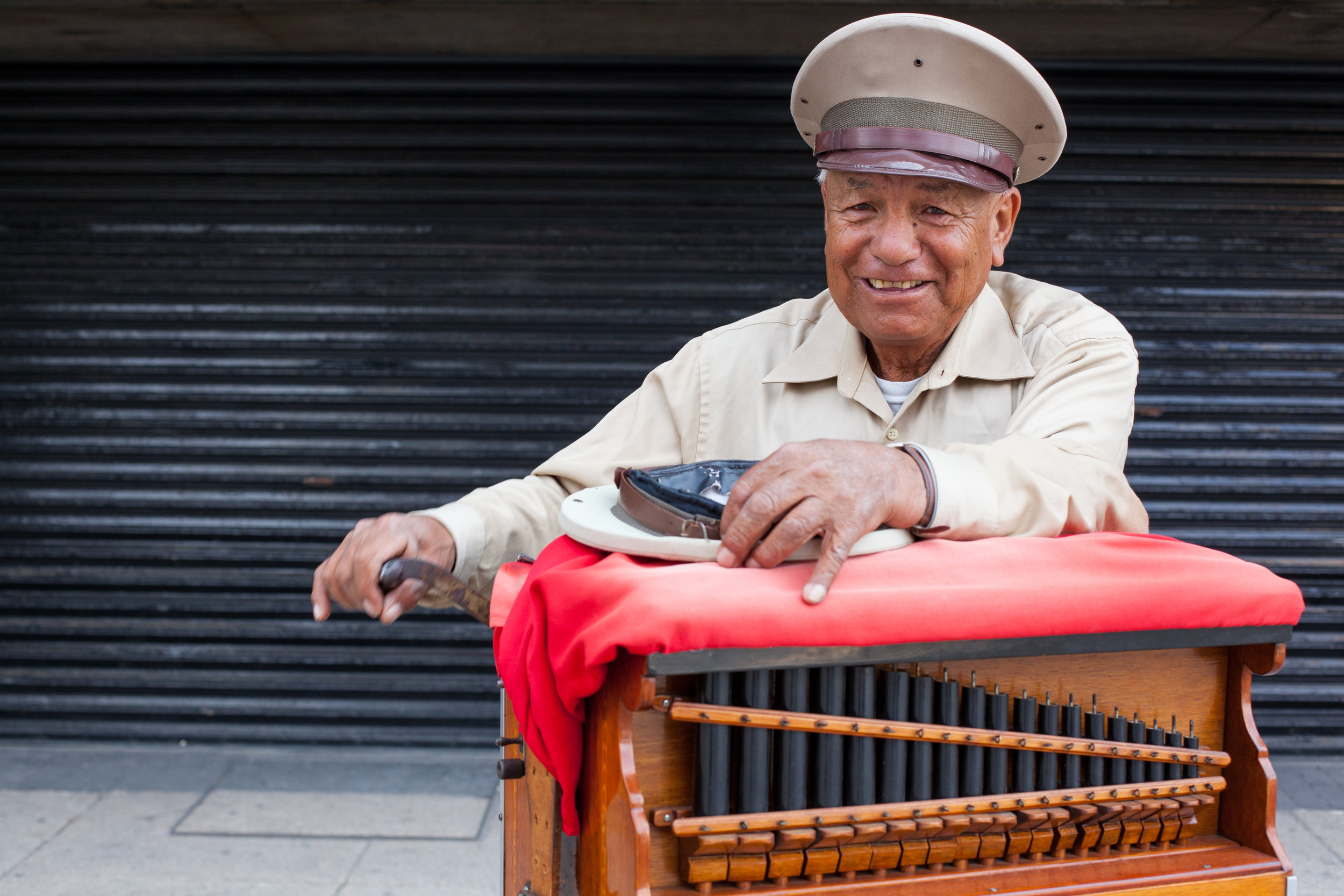 An environmental portrait taken in Mexico City of one of it's many Organ Grinders.