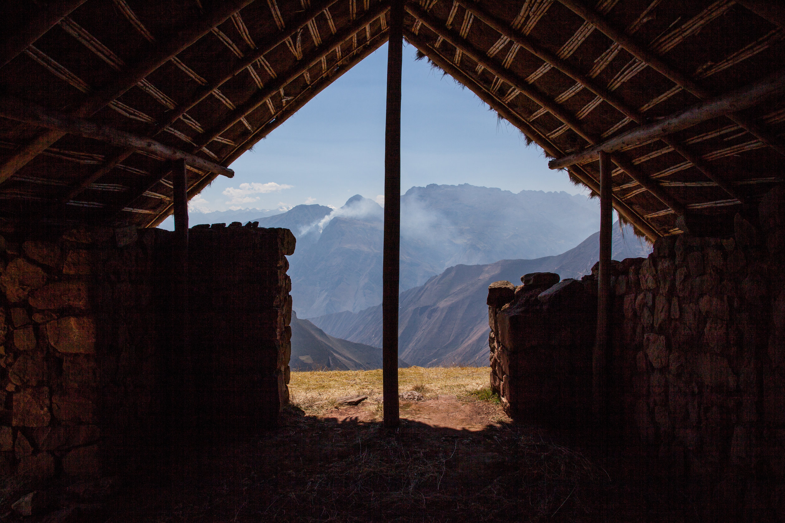 View from inside a hut on top of Sóndor in Peru.