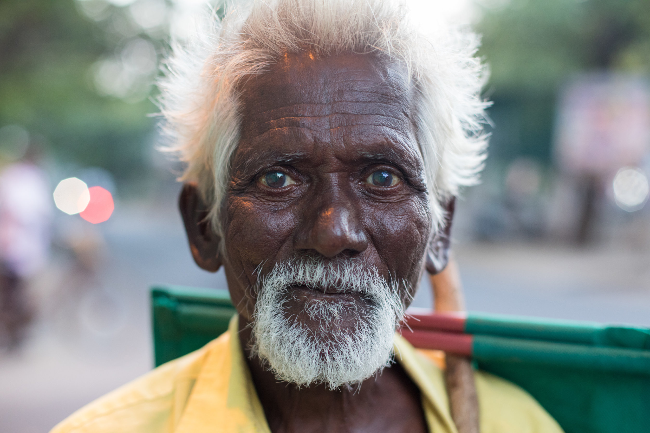 Street portrait of this drifter on the outskirts of Pondicherry in Tamil Nadu.