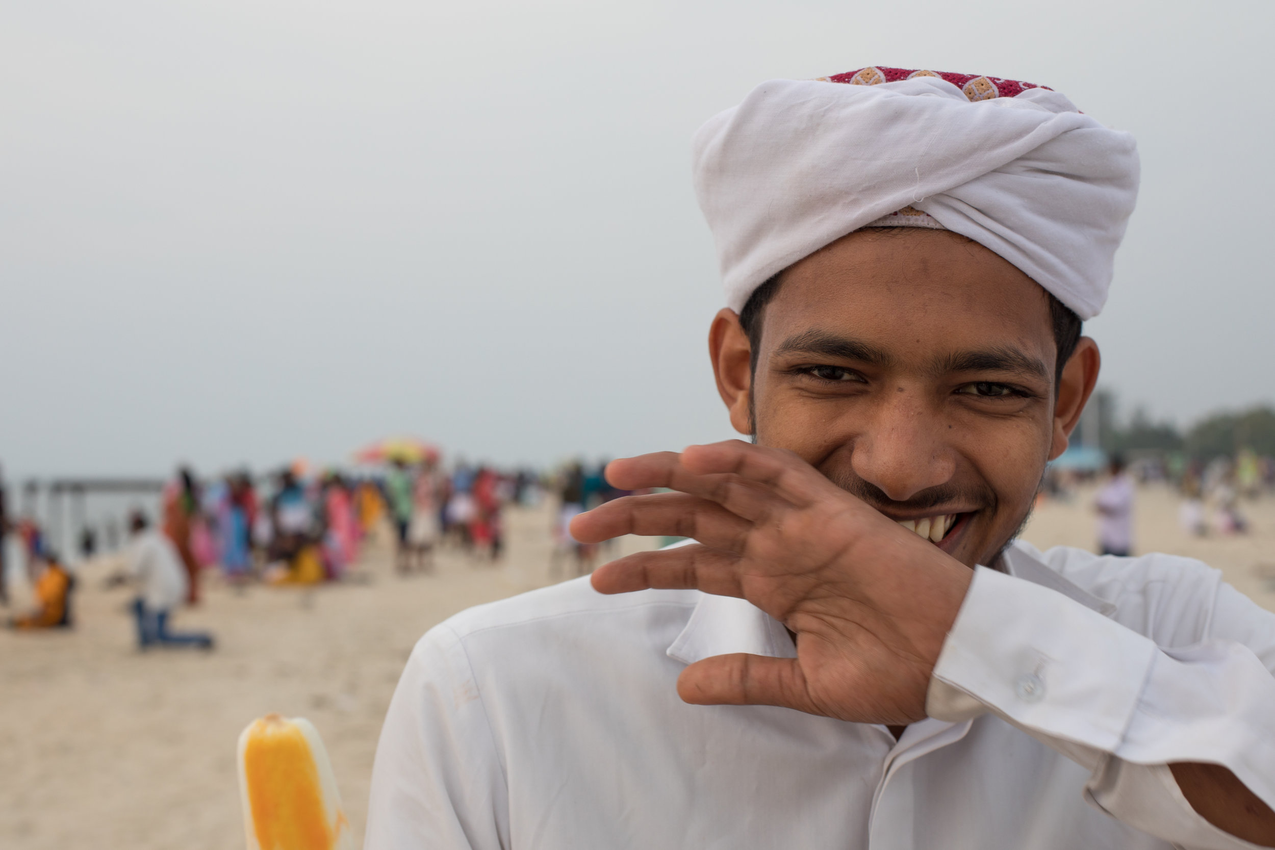 Portrait of a happy Muslim boy on the beach in Alleppy.