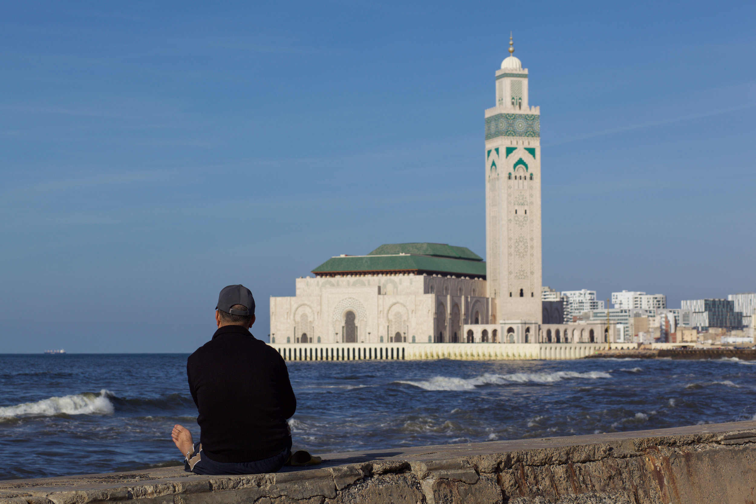 The Hassan II Mosque or Grande Mosquée Hassan II is on the coastline of Casablanca and is the largest mosque in Morocco.