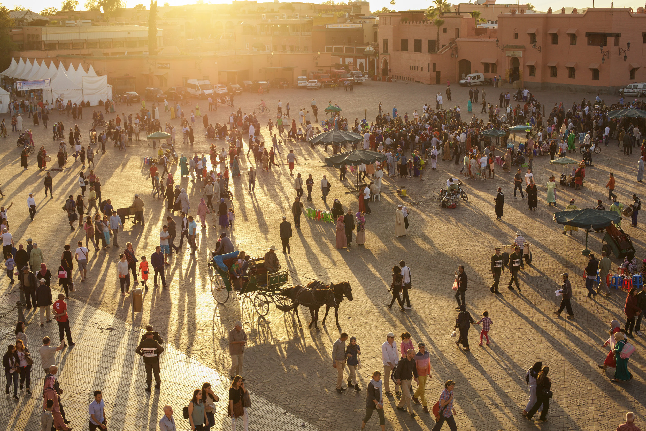 Sunset over Jemaa el-Fnaa, the main square and market place in Marrakesh's medina quarter.