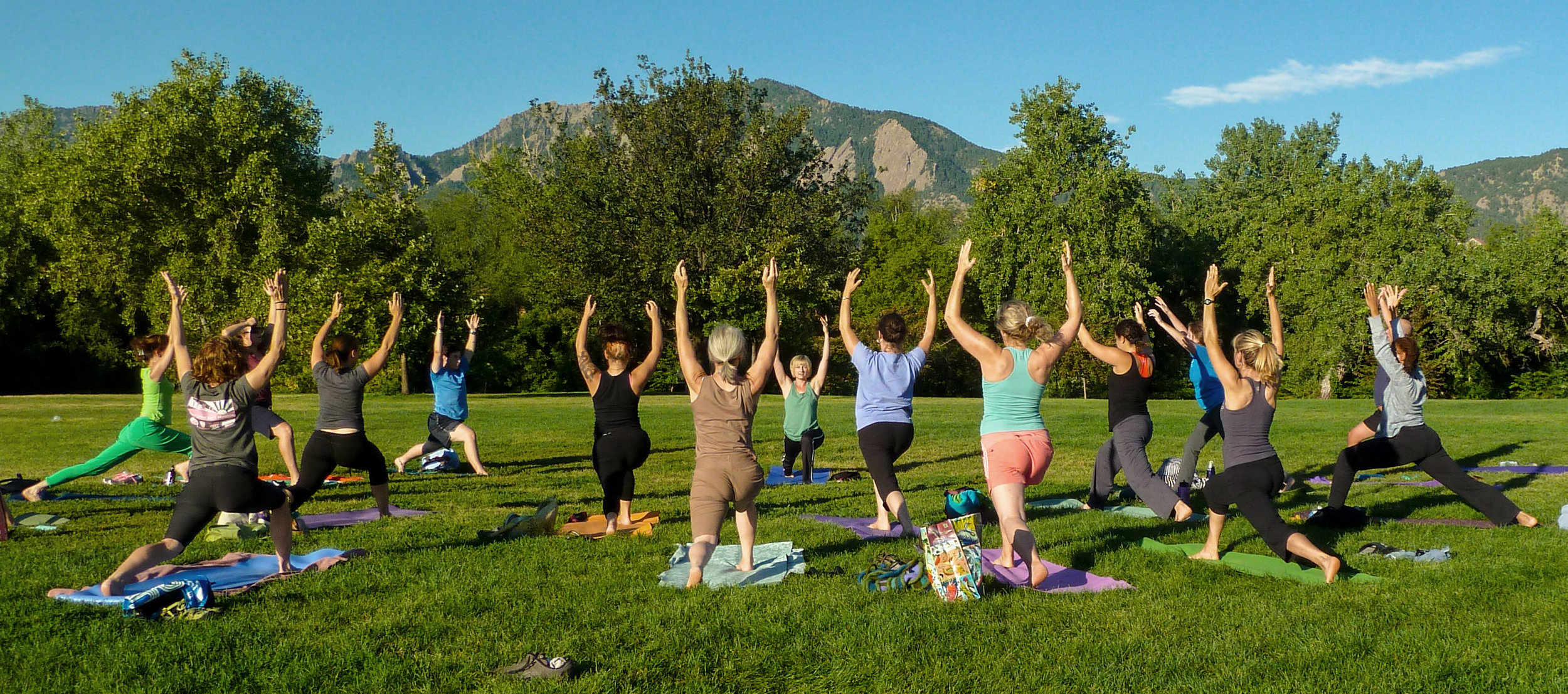 PowerFit Yoga - conditioning-based outdoor yoga held at Chautauqua Park in Boulder