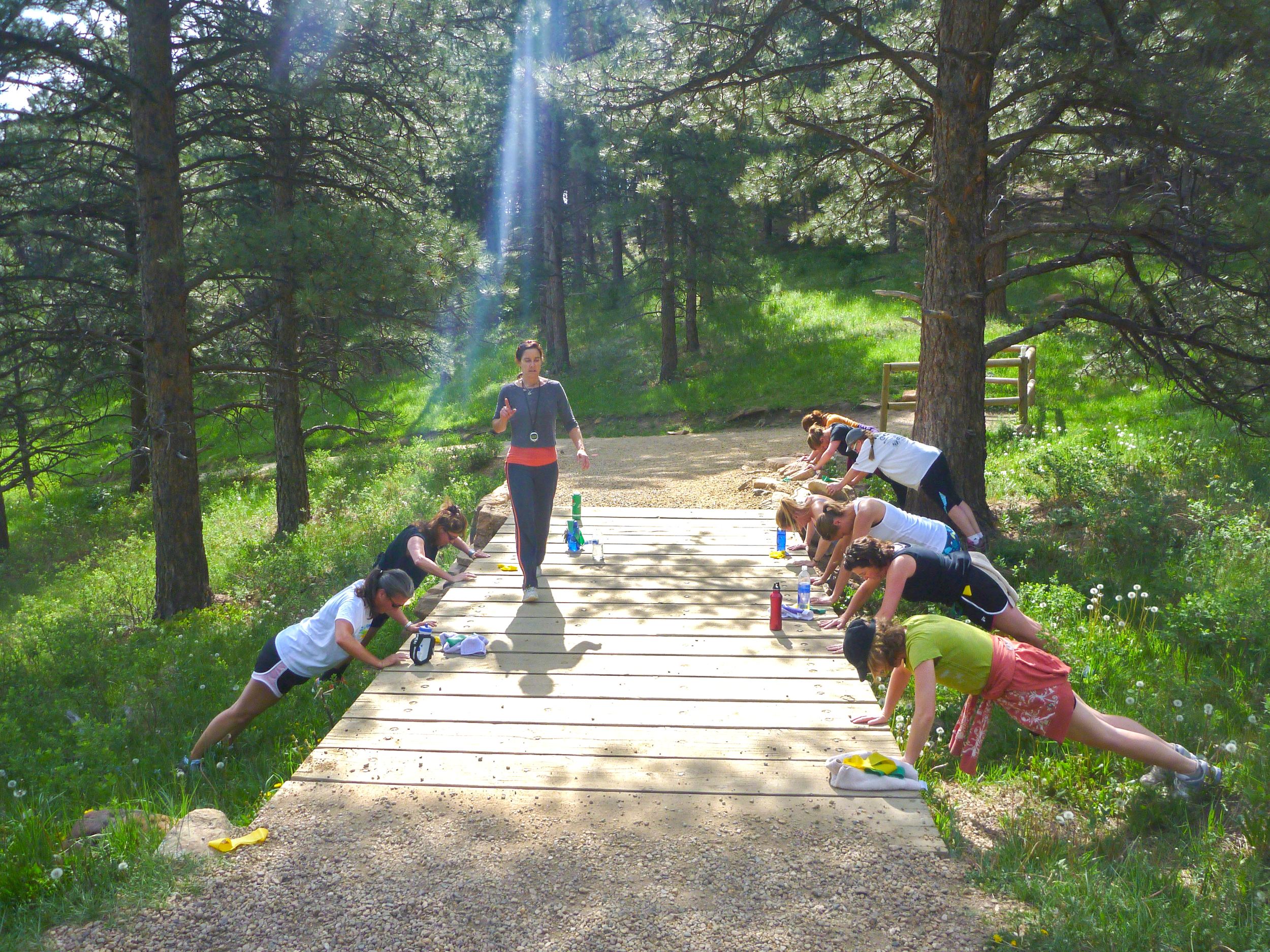 Fitness in the Foothills - our special Wednesday stop and go trail class in the Boulder open space.