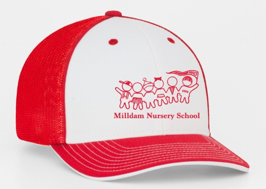 Child's Trucker Hat$20 - Show your school spirit with our children's Milldam Nursery School Trucker Hats! Pro-model shape, M3 performance fabric front panels, spandex trucker mesh back.