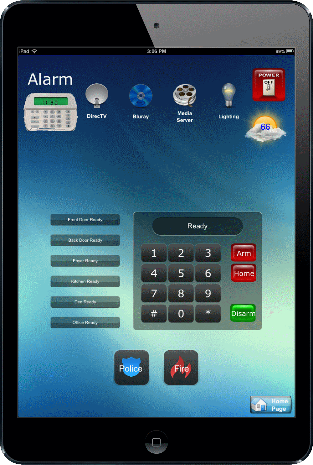 Universal Ipad Remote - Nyack, NY - HV Home Media - Hudson Valley Home Media - Alarm System Turn on and off - Lock front door - panic button - call fireman or call police