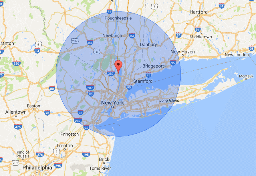 25 Mile Map Radius from Hudson Valley Home Media in Nyack - Service area extends to Connecticut and Long island NY