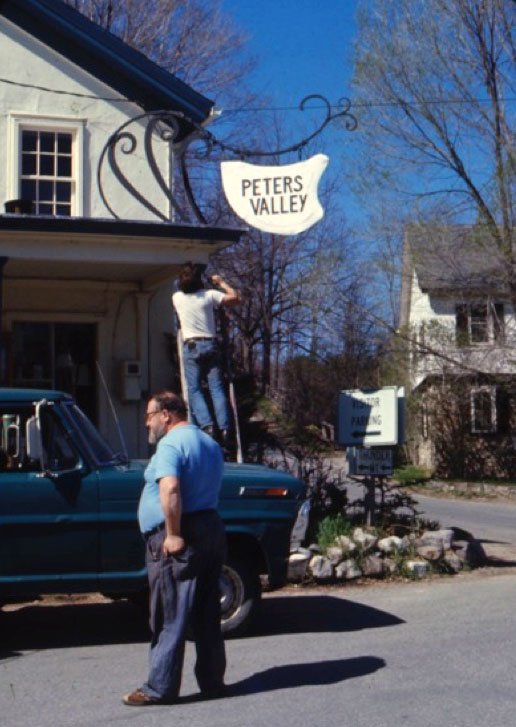Emil overseeing the installation of the Peters Valley sign fabricated by him and blacksmith Tom Maiorana (early 1970s).Photo courtesy to Tom Maiorana.