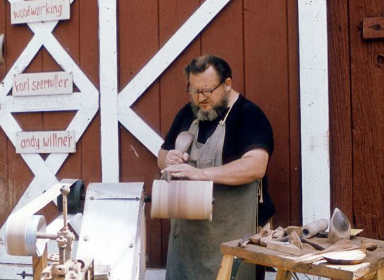 Emil using his self-made belt- and drum-sander at Peters Valley in the 1970s.