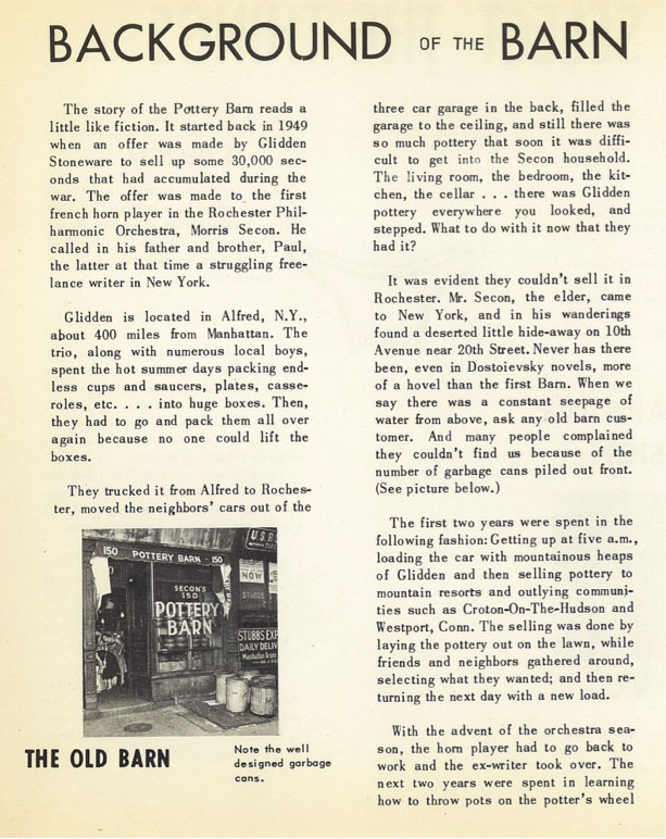 A history of Pottery Barn from a brochure in the mid 1950s.