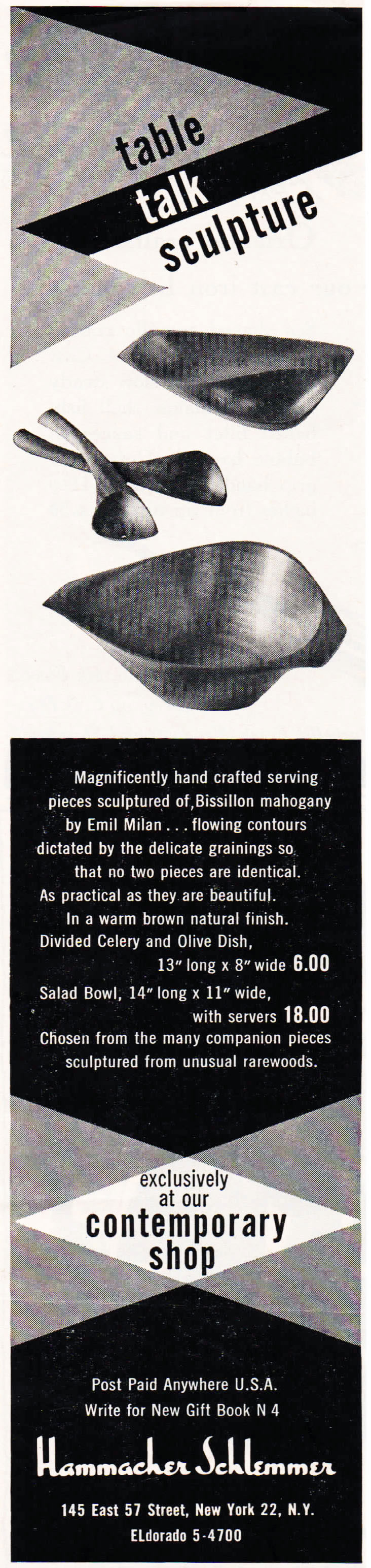 """A 1954 Hammacher Schlemmer ad for their """"Table Talk"""" line of wood accessories, featuring handmade wares crafted by Emil Milan."""