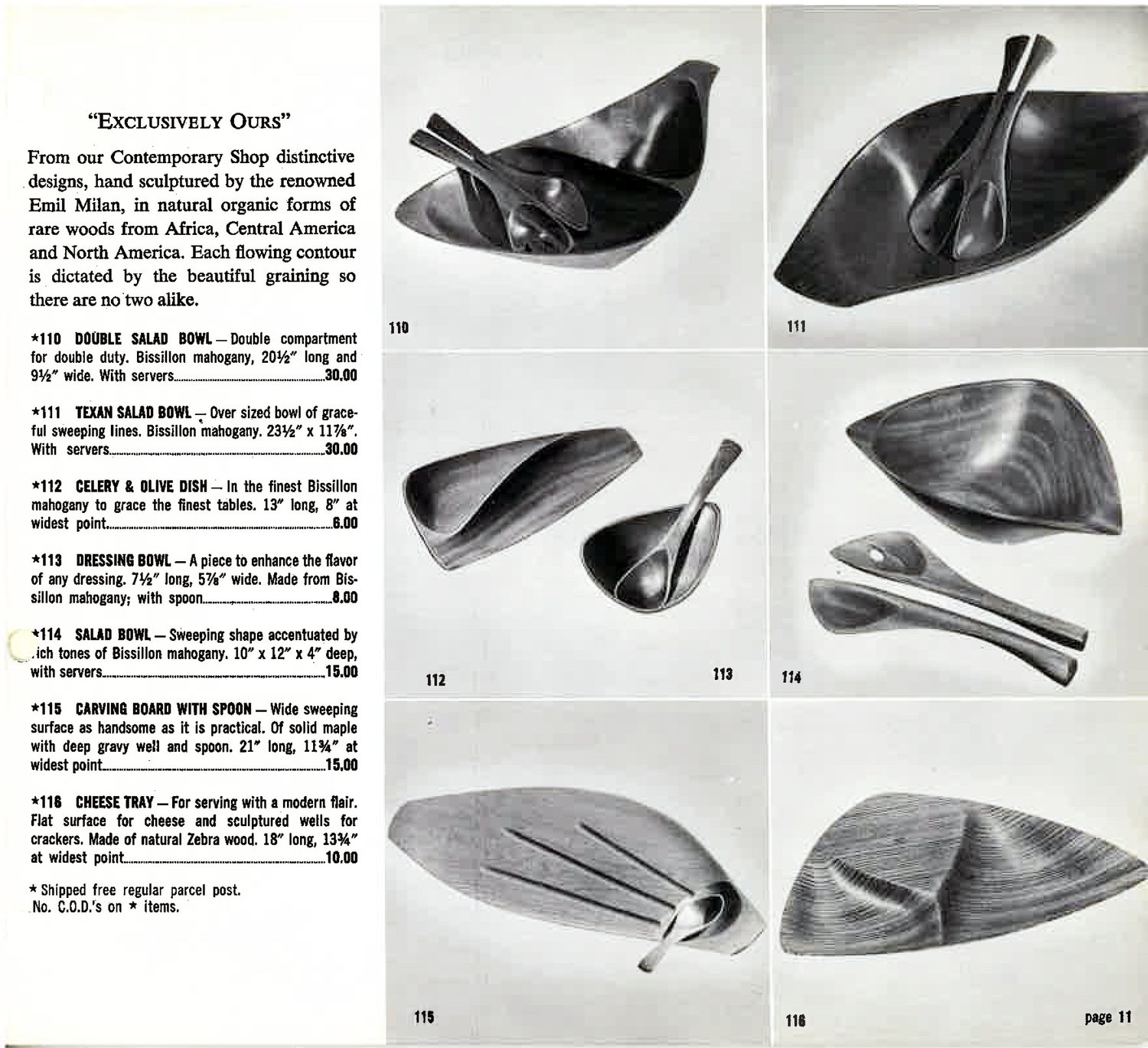"A page from the 1954 Hammacher Schlemmer Gift Catalog, showcasing the exclusive ""hand sculptured"" work of Emil MIlan."