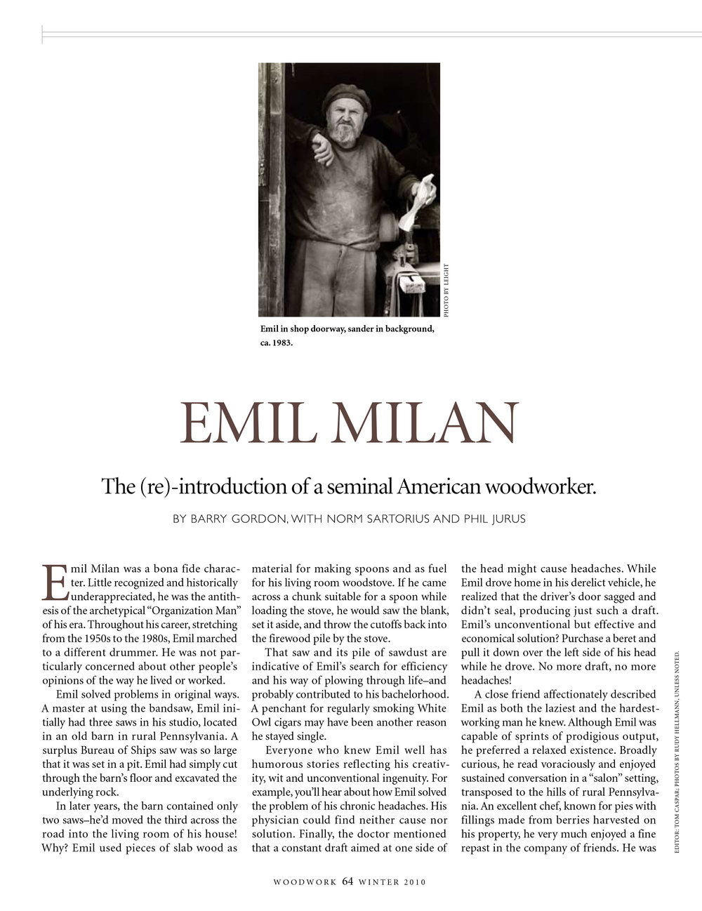 The first article on Emil Milan published as a result of the research grant the Emil Milan Research Team received from the CCCD, 2010.