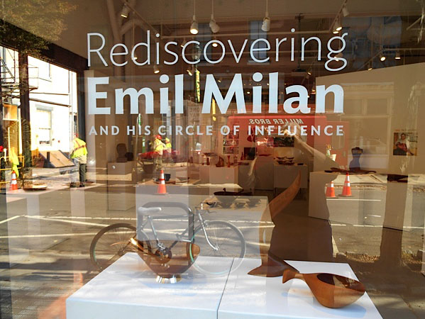 The exterior title graphics for the exhibition  Rediscovering Emil Milan and His Circle of Influence  at The Center for Art in Wood.