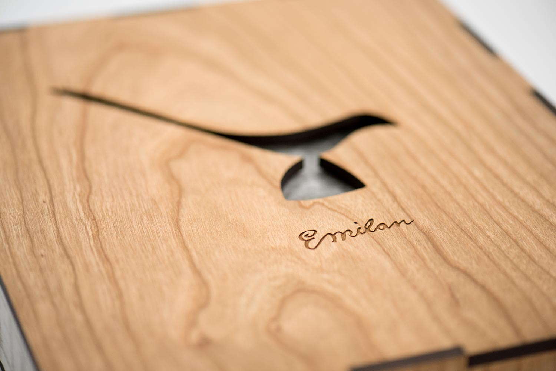 Laser cut cherry veneer wood slip case.