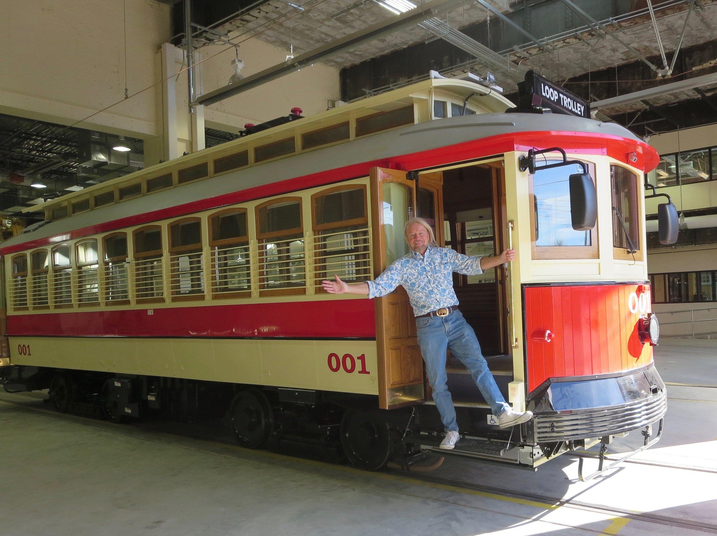 Joe Edwards, the pioneer of The Loop Trolley project, aboard Trolley #001