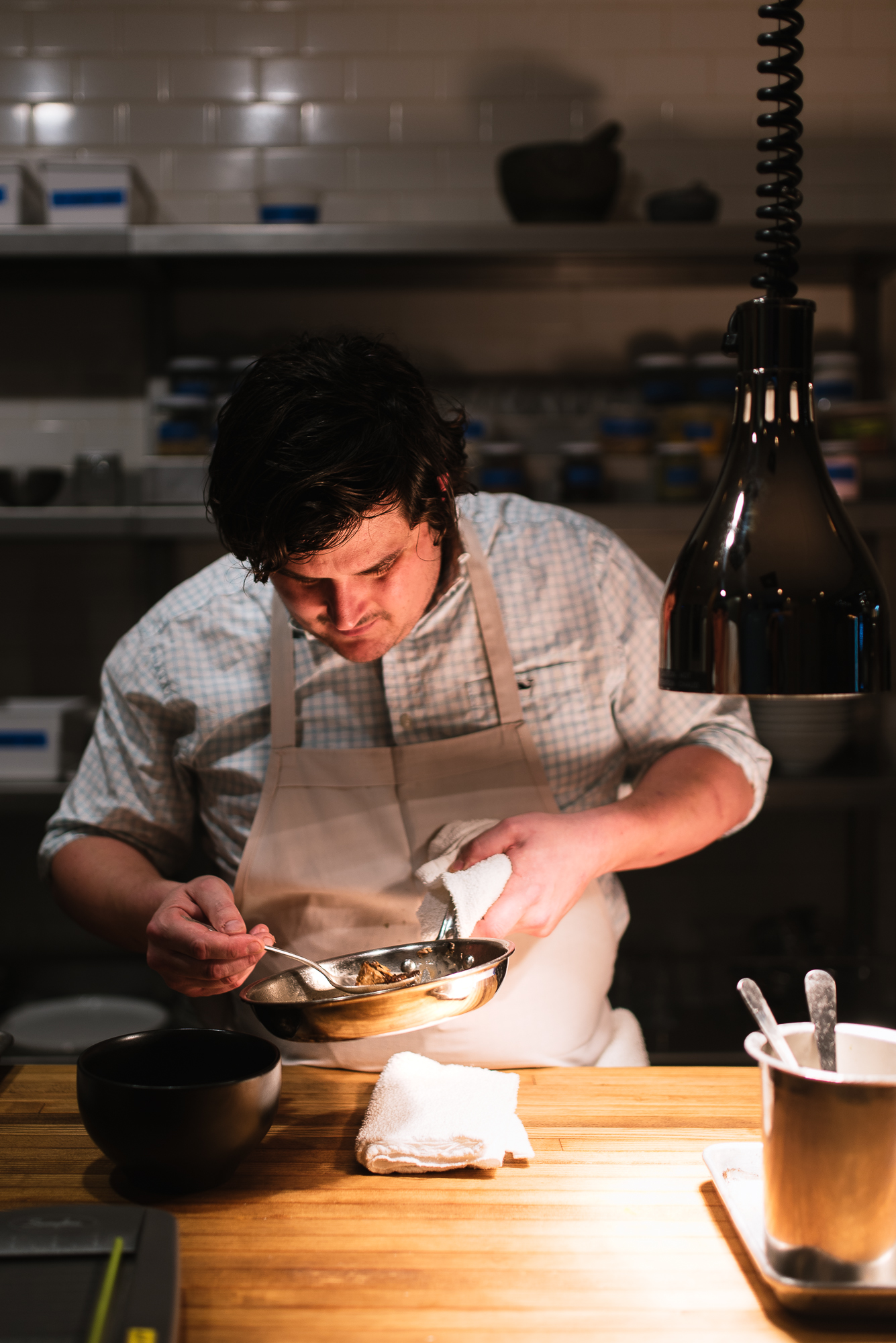 Chef Mike Randolph in the kitchen at Privado. -