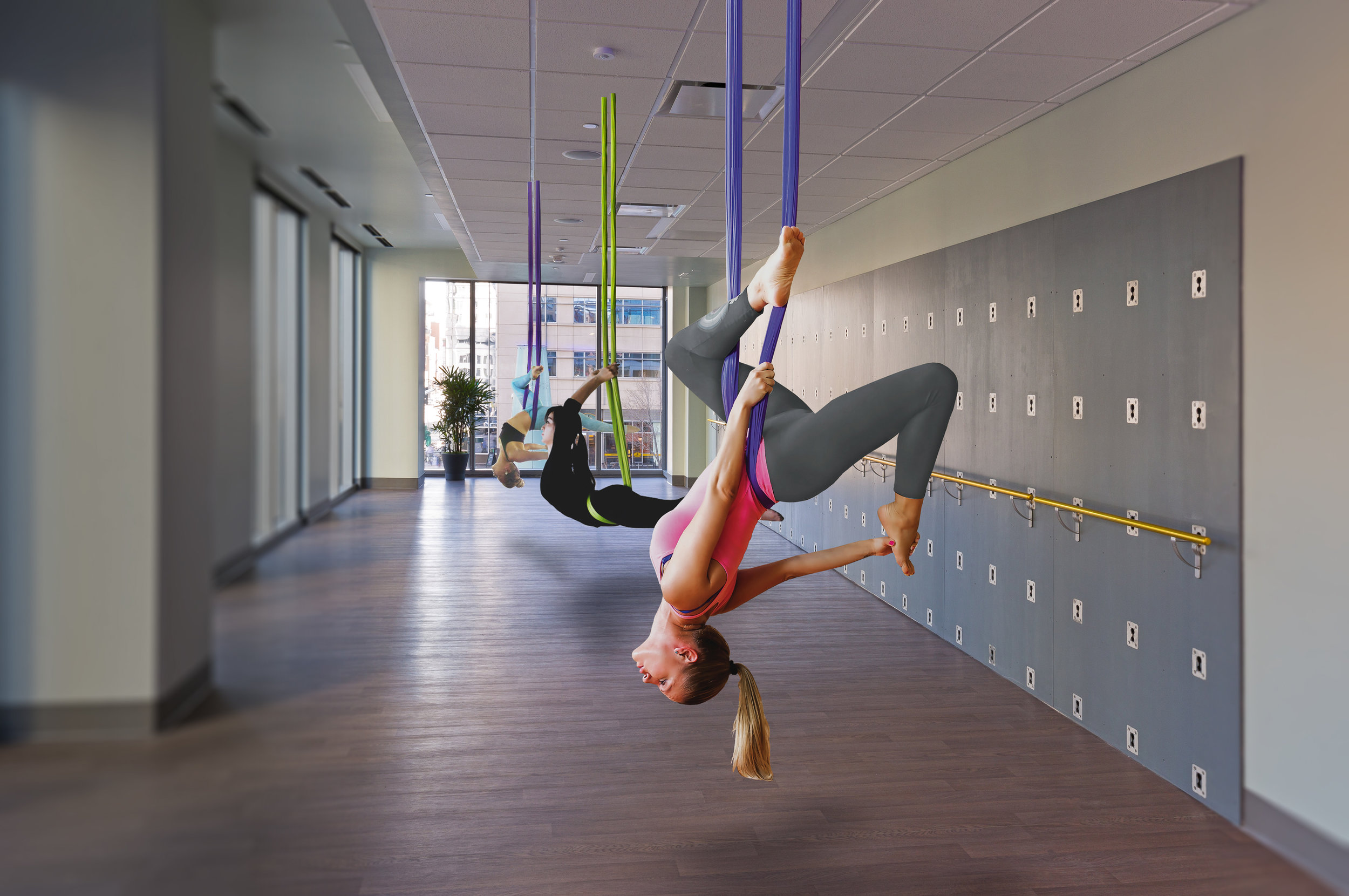 Aerial yoga will be offered in the new Wellbridge Club.