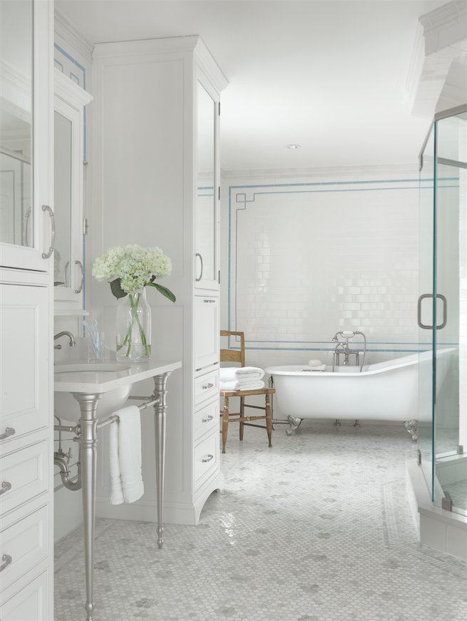"Designer Julie Abner designed this ""her"" portion of his-and-her bathrooms in an historic home."