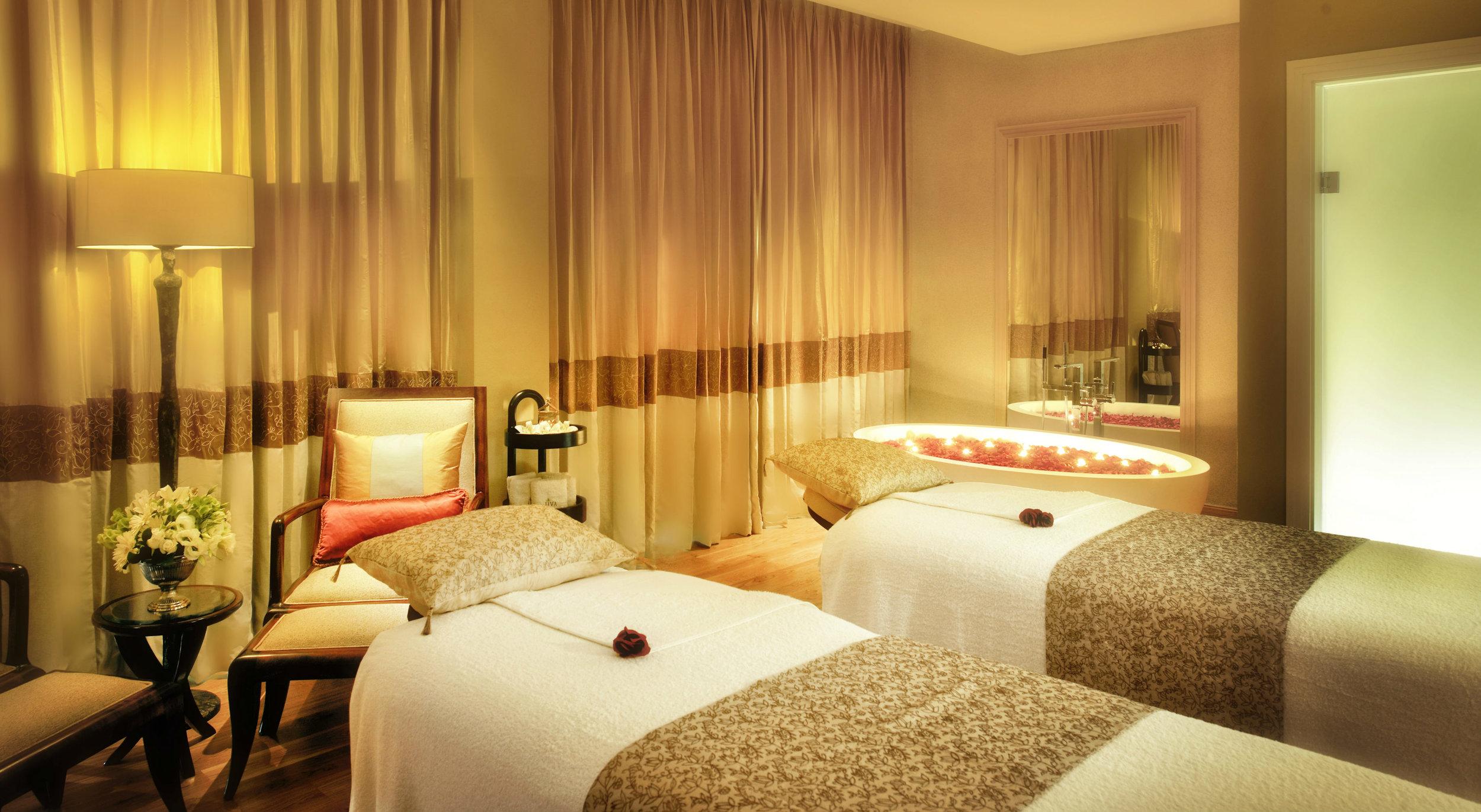 A treatment room inside the Taj Hotel Spa.