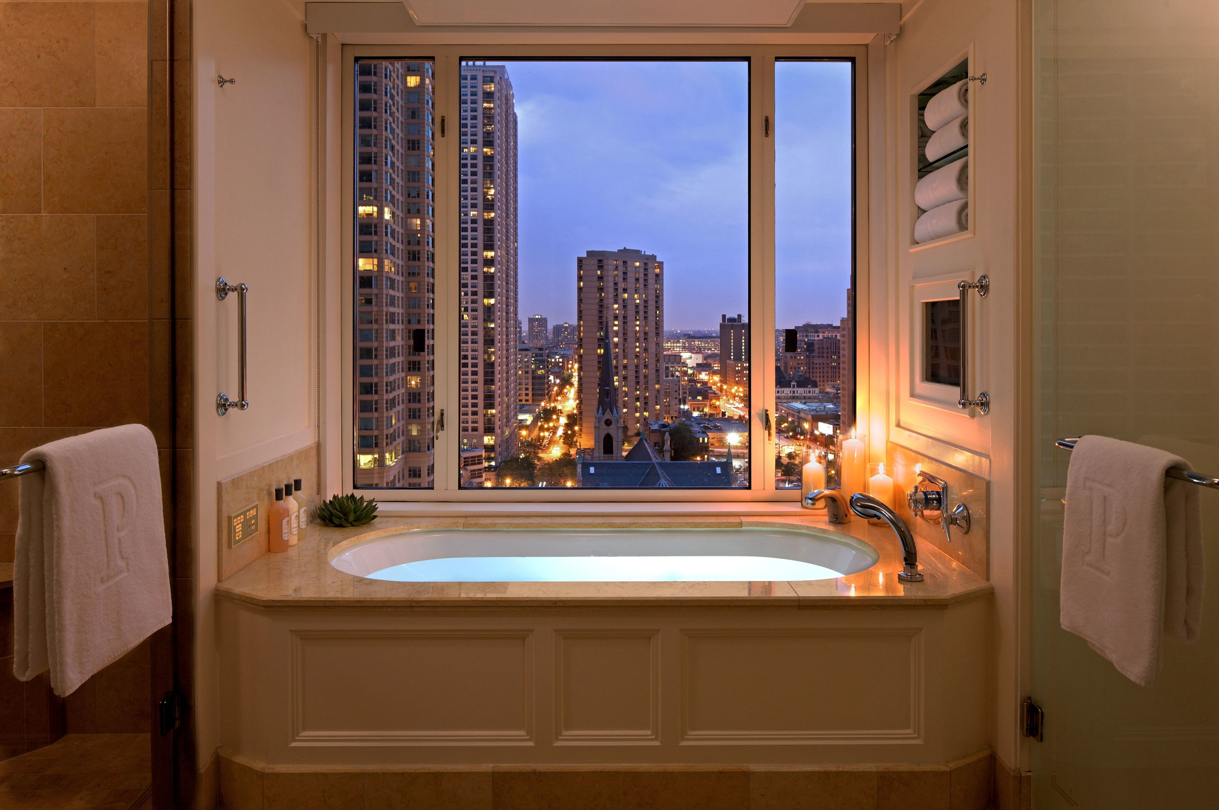 A view from a bathroom inside an executive suite at The Peninsula Chicago.