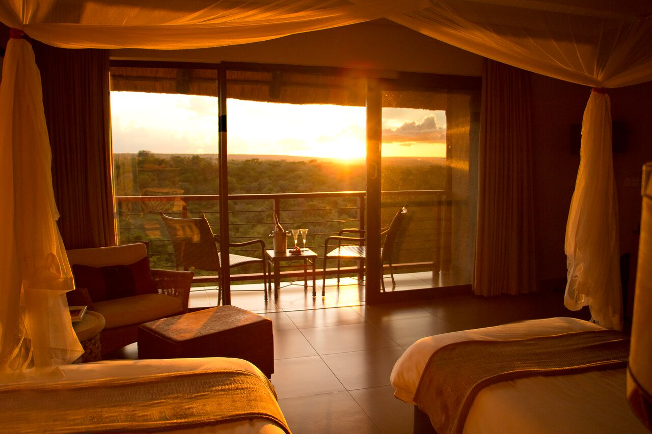 A view from inside Victoria Falls Safari Club.