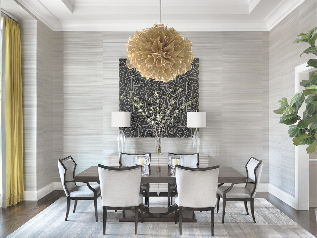 Just off the main gallery foyer, a Valerie Jaudon canvas is the focal point of the stunning formal dining room.