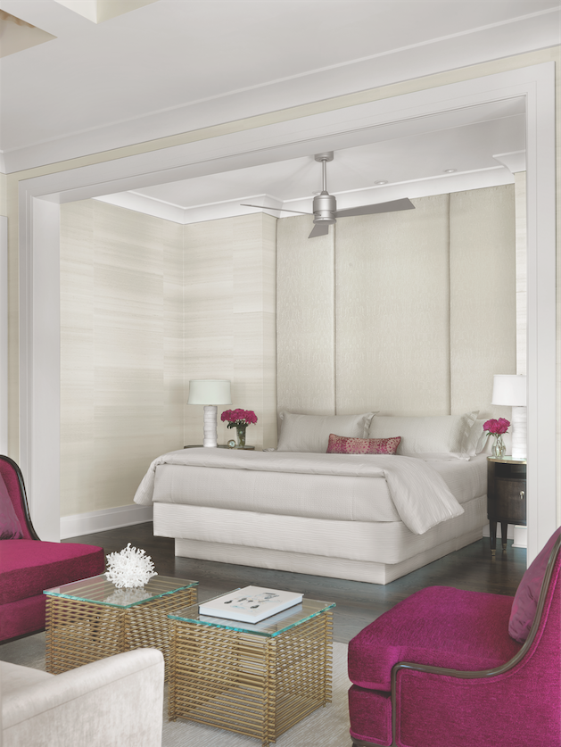 Simple but sumptuous, the platform bed is nestled in a stepped-up cove, overlooking the sitting room and terrace.
