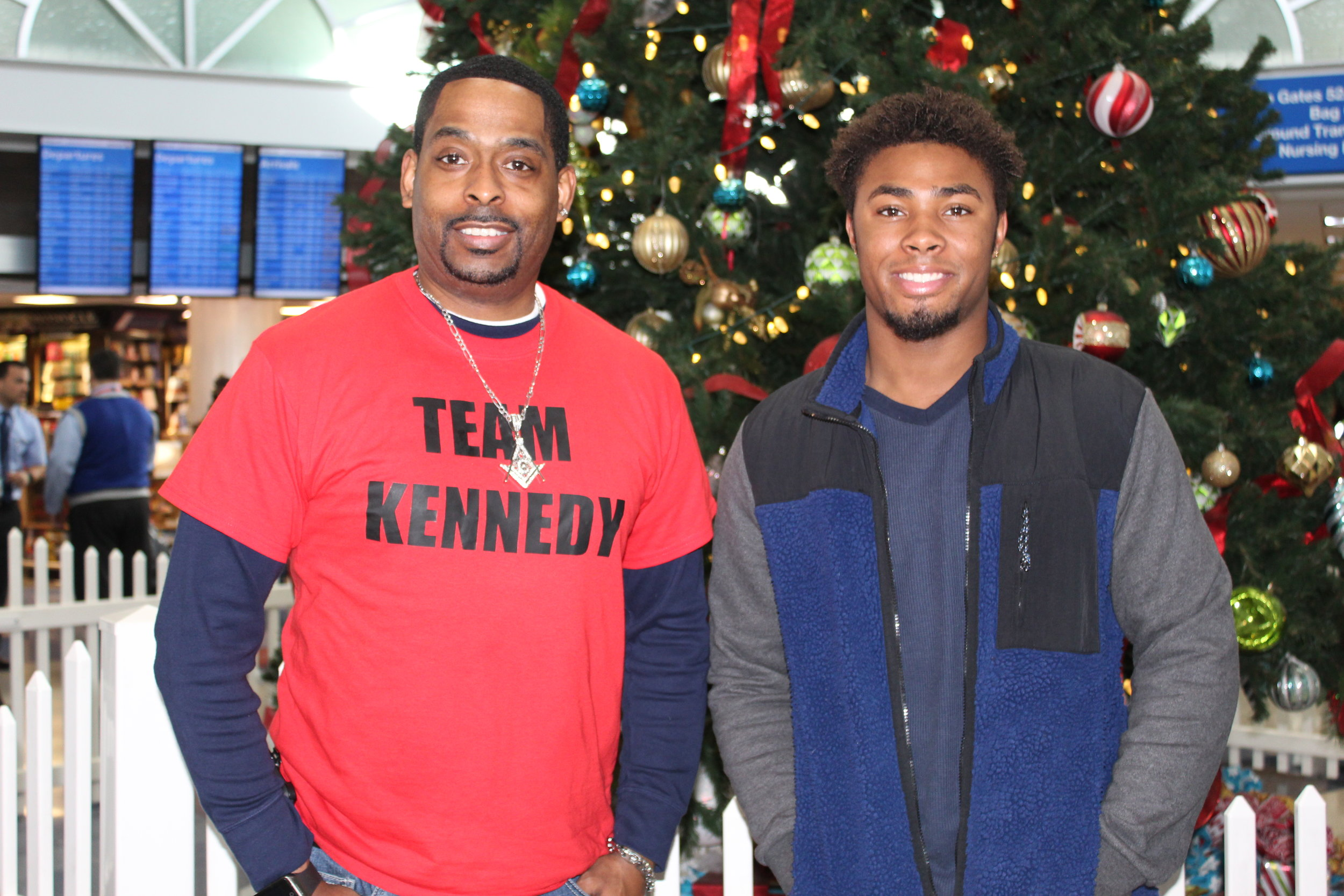 Shawn and Jordan Holmes, father and brother to Kennedy, heading back to St. Louis after the big finale.
