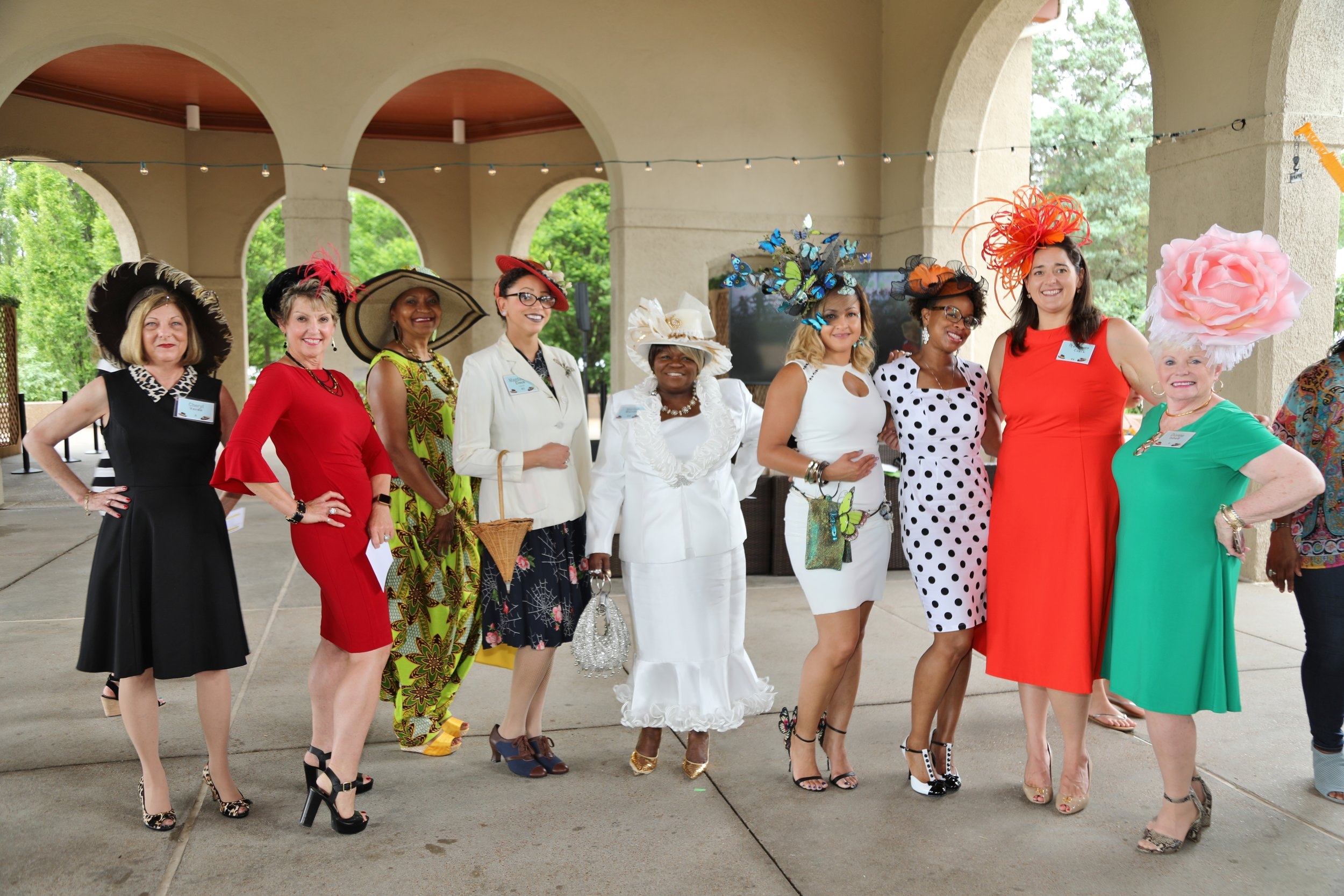 Some of the winning hats at the Forest Park Forever Hat Luncheon.