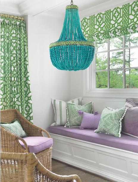 A turquoise beaded chandelier is a can't-miss focal point in the newly created breakfast nook.
