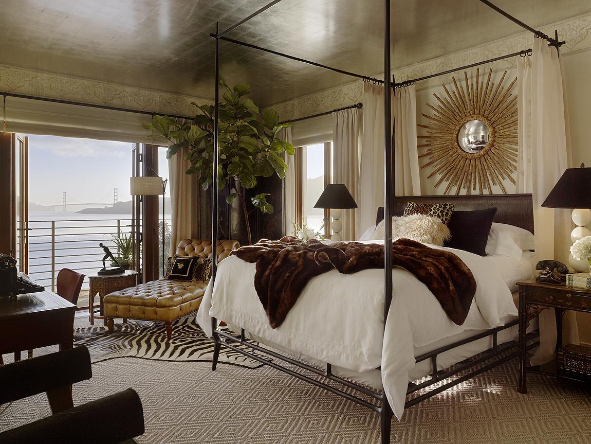 gold leaf ceiling bedroom golden gate bridge view