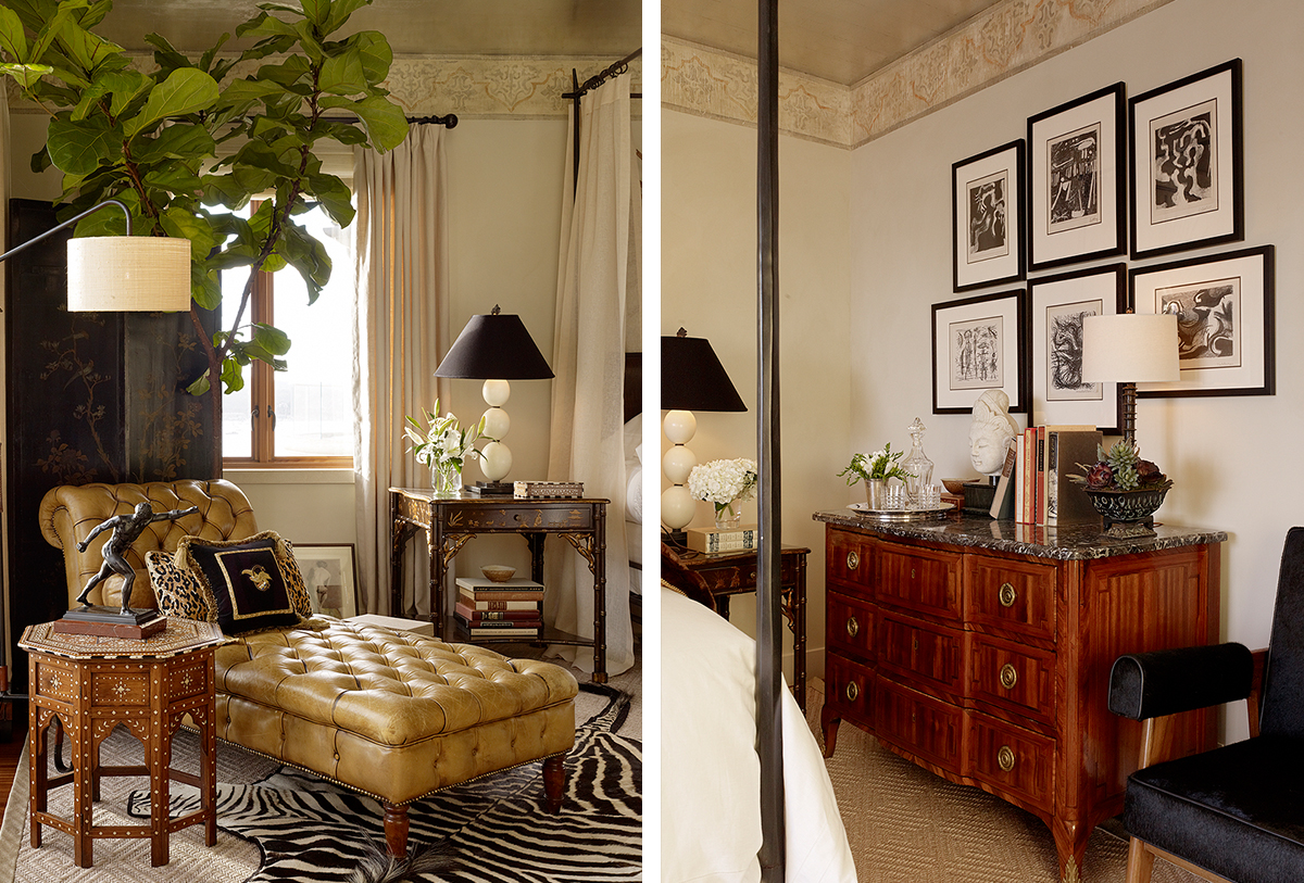 leather tufted chaise and gallery wall in bedroom