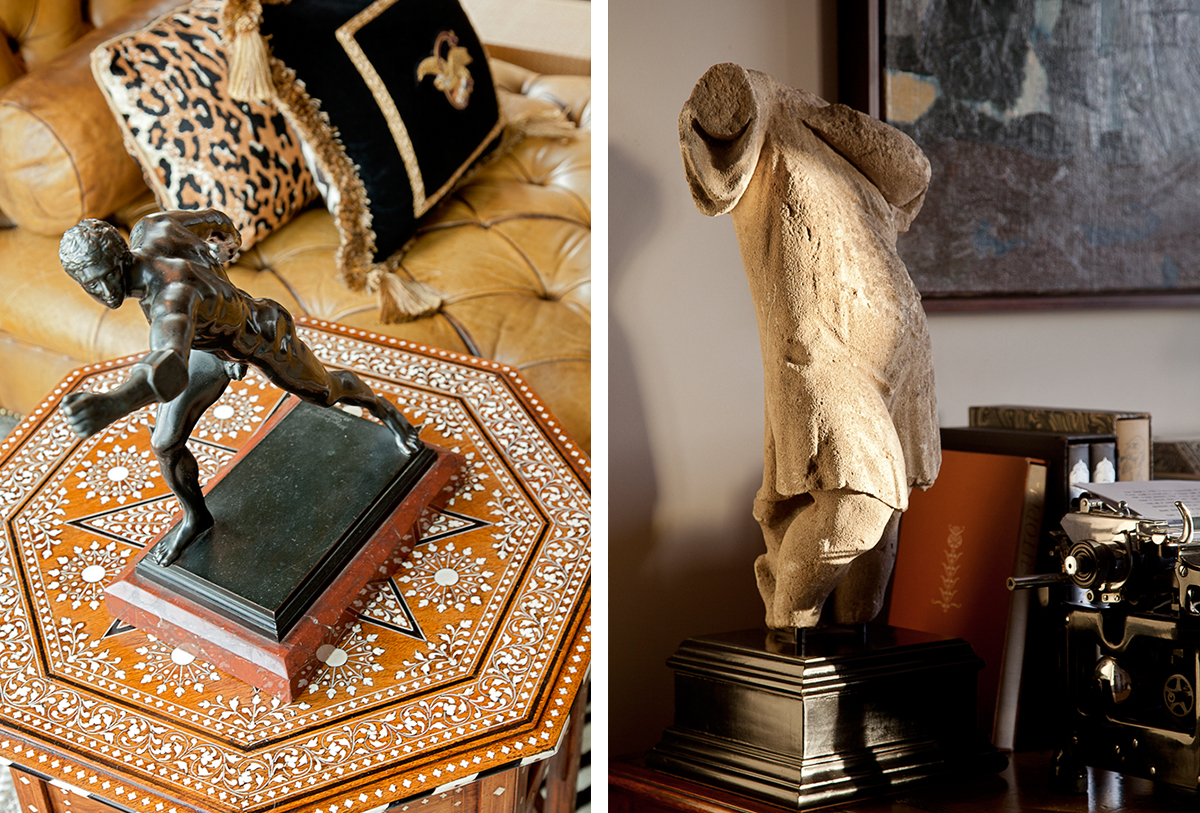 moroccan accent table with sculpture