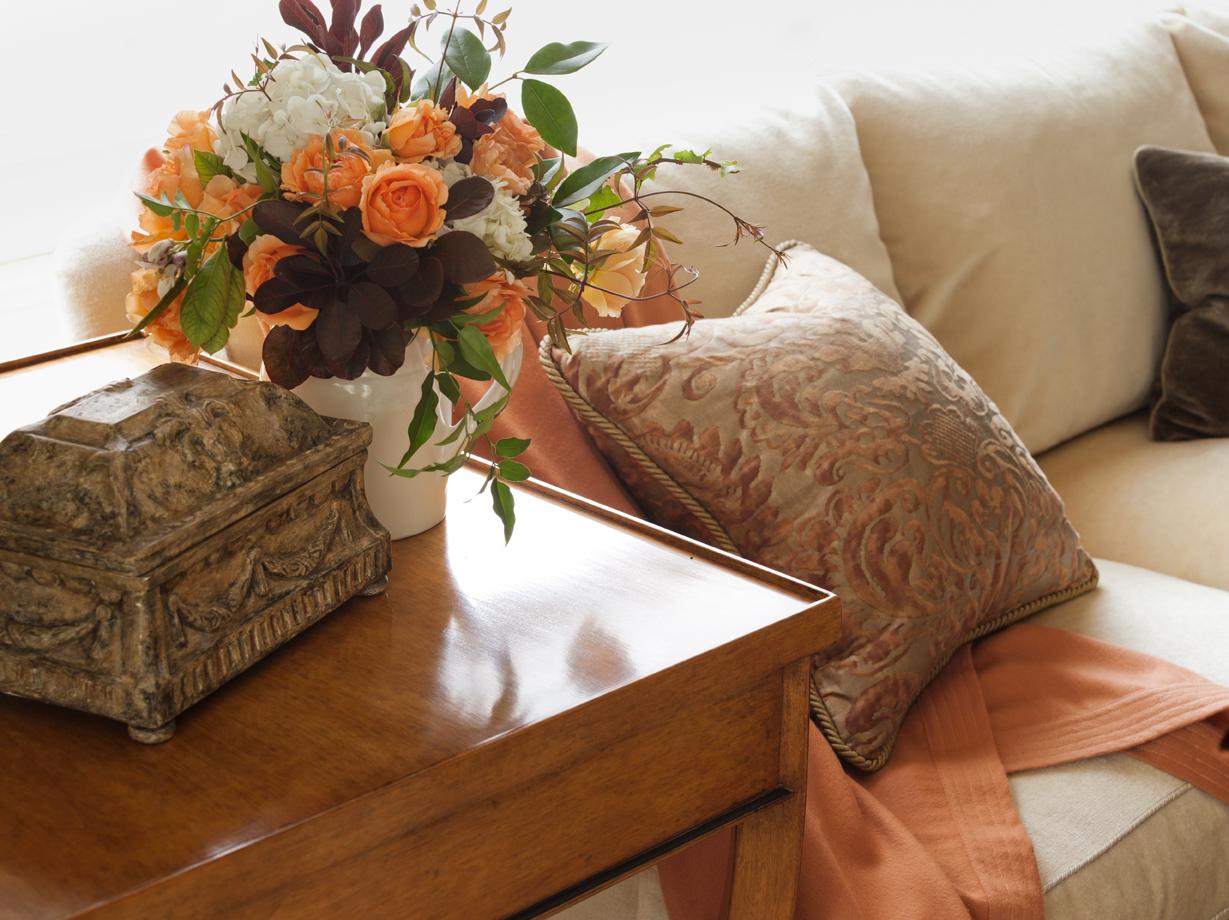 formal living room warm tones