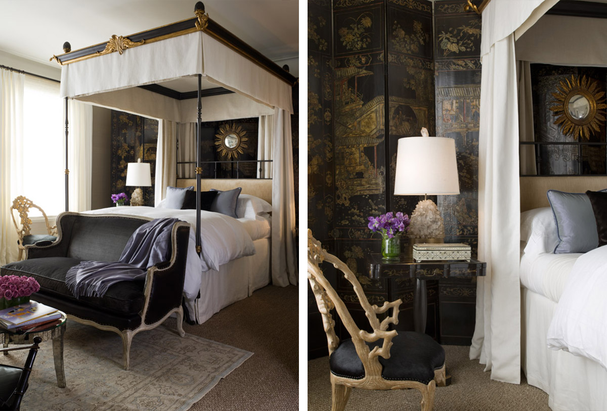 custom canopy bed with Chinese Coromandel screen
