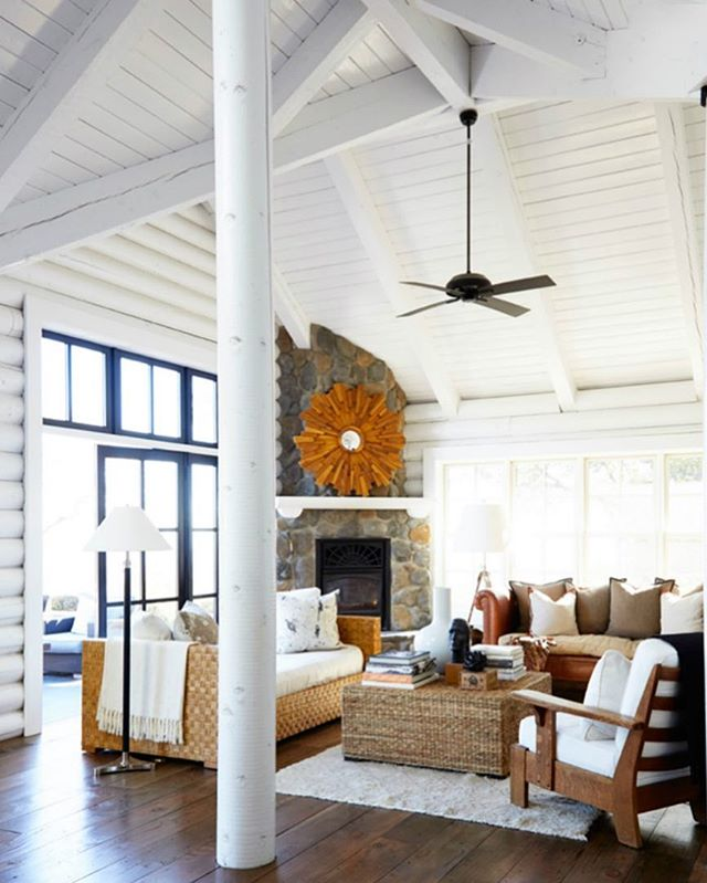Very rarely do I share other designers' work (because I like to keep things genuine around here), but I saw this white painted log cabin & thought it was too beautiful to keep to myself.  The thought of painting all of that wood might make a grown man cry, but I love the contrast with the floor & stone fireplace.  Happy Monday! #whitelogcabin #stonefireplace #larkandlineninteriordesign #ruemagazine #mondayinspiration #weeklydesigninspiration #interiors #interiordesign #lpd #logcabin @larkandlinen @ruemagazine