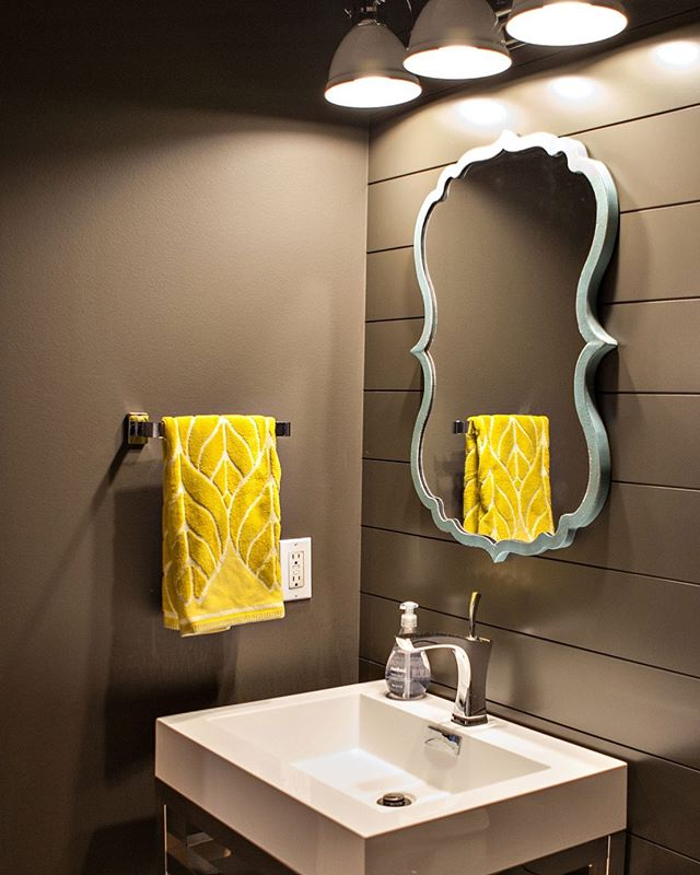 I love this moody powder room with a pop of whimsy! We kept the original color, just added shiplap, a modern vanity, classic light fixture & curvy mirror completely changed this room. #powderroom #darkshiplap #shiplapbathroom #whimsy #westmichiganinteriordesign #westmichiganbathroomdesign #bathroomdesign #bathroom #classiclight #modernvanity #worldmarketfinds #ironore