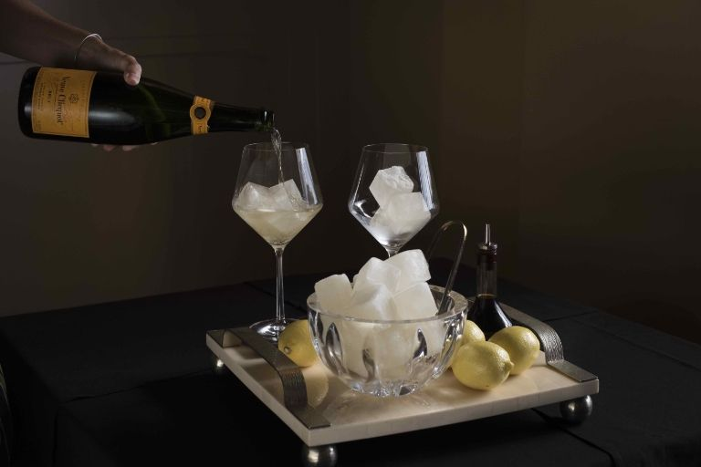 At Squares, Champagne is served with Champagne ice cubes. Credit: Liz Clayman