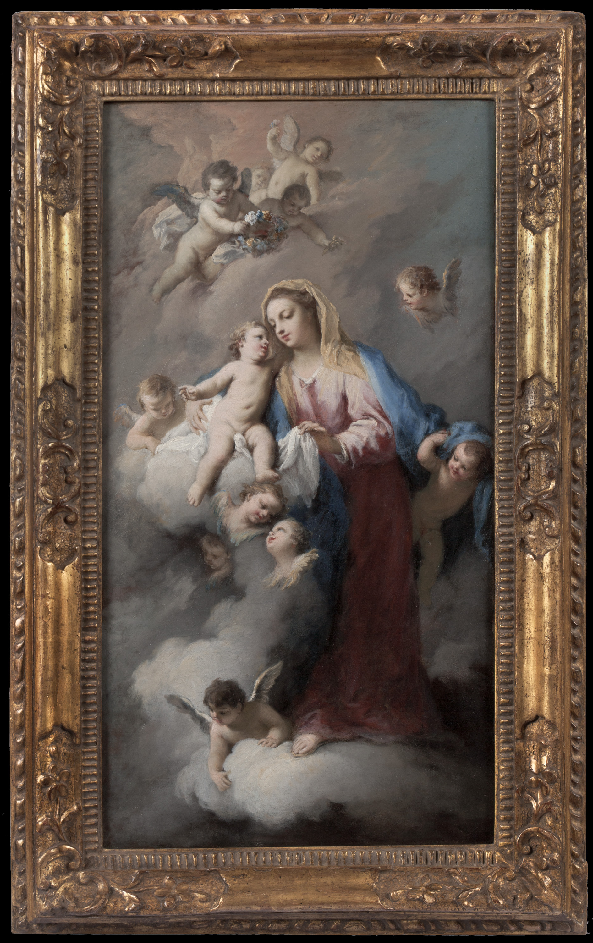 JACOPO AMIGONI   (Italian, ca. 1680 - 1752)    Madonna and Child with Angels in the Clouds    Oil on canvas   23 1/4 x 12 1/2 inches  (59 x 31.7 cm)