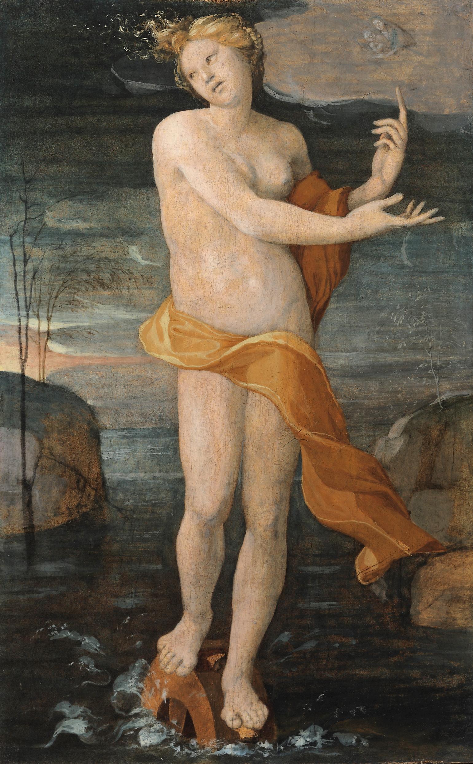 DOMENICO BECCAFUMI  (Valdibiana 1486 - 1551 Siena)    Allegory of Fortune    Oil on panel   32 3/4 x 20 3/8 inches (83.2 x 51.8 cm)