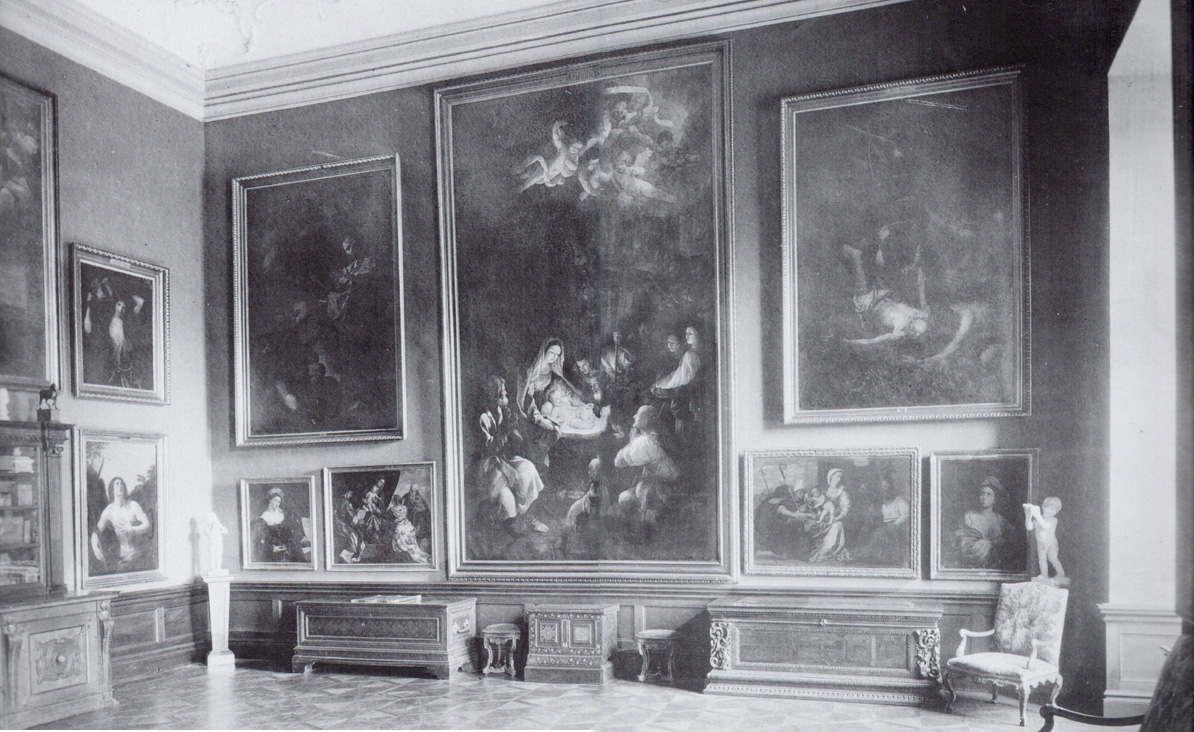Photograph of Room III in the Liechtenstein Garden Palace, Rossau, Vienna, ca. 1900.  The Beinaschi Martyrdom of St. Peter can be seen to the right of Guido Reni's Adoration of the Shepherds, acquired by the National Gallery, London, from the Prince of Liechtenstein in 1957.