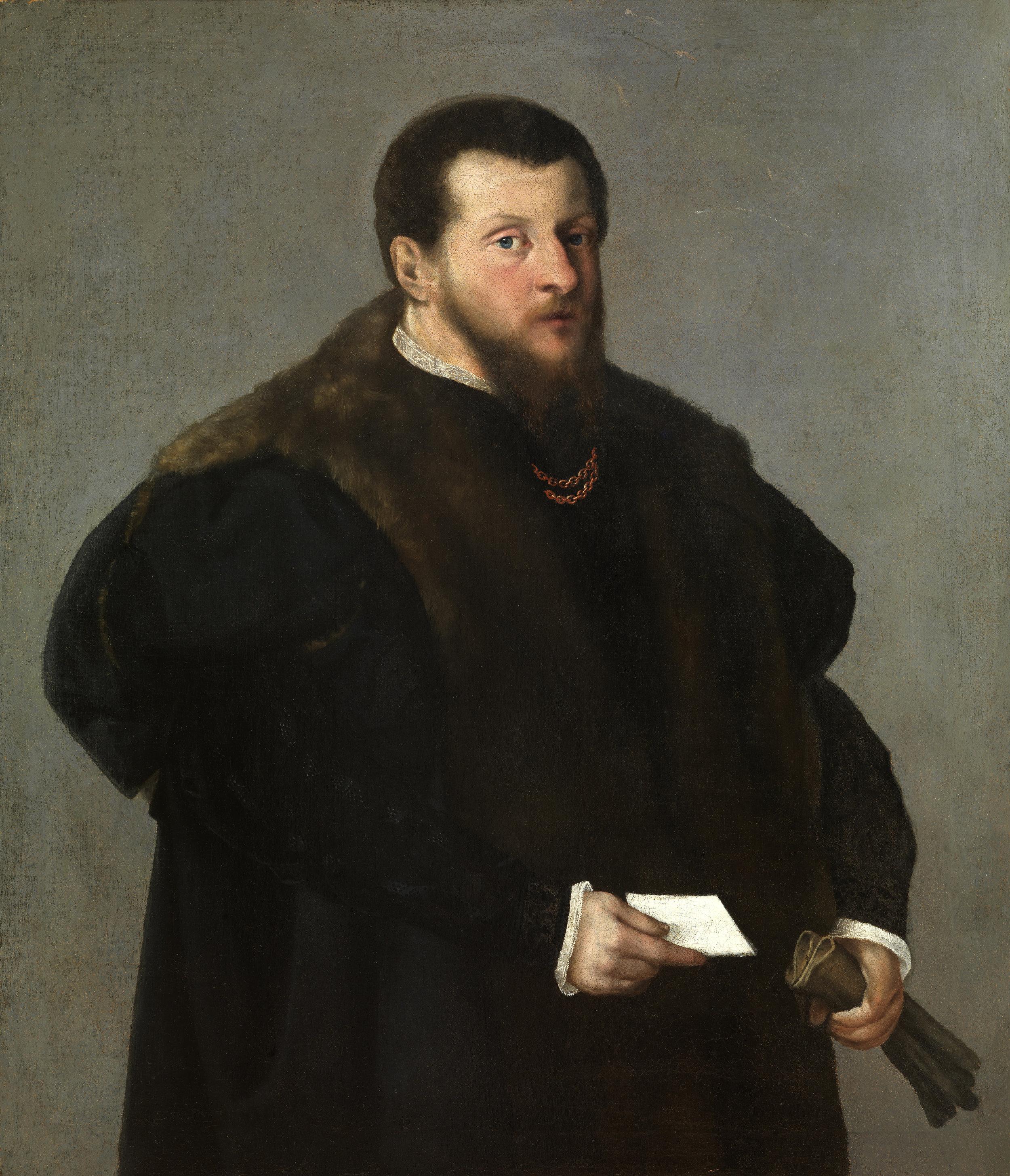 PARIS BORDONE   (Treviso 1500 – 1571 Venice)   Portrait of a Man   Oil on canvas  109 x 94.5 cm
