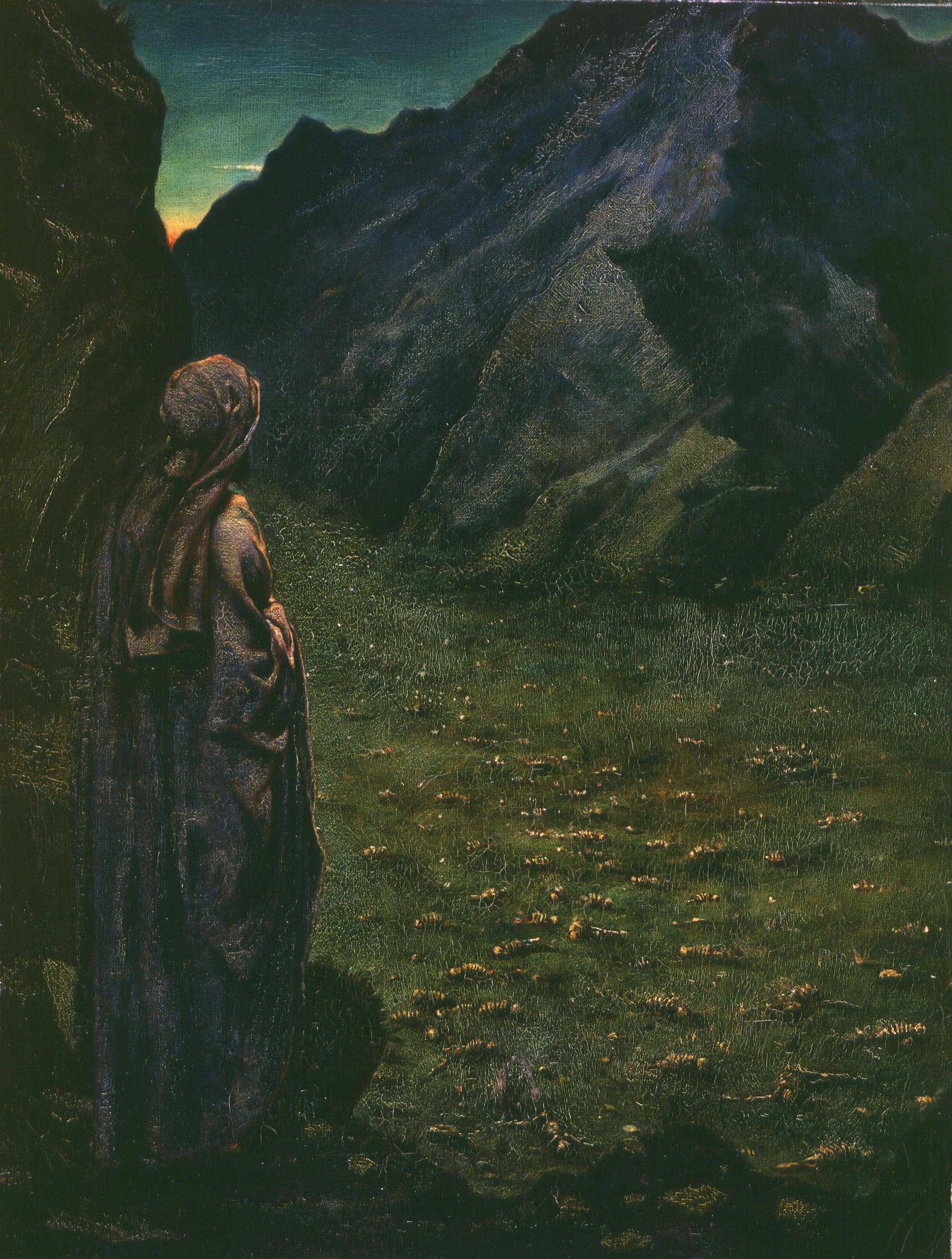 SIR PHILIP BURNE-JONES, BT.   (British, 1861 – 1926)   Ezekiel in the Valley of Dry Bones     Oil on canvas  23 x 18 inches (58.4 x 45.7 cm)
