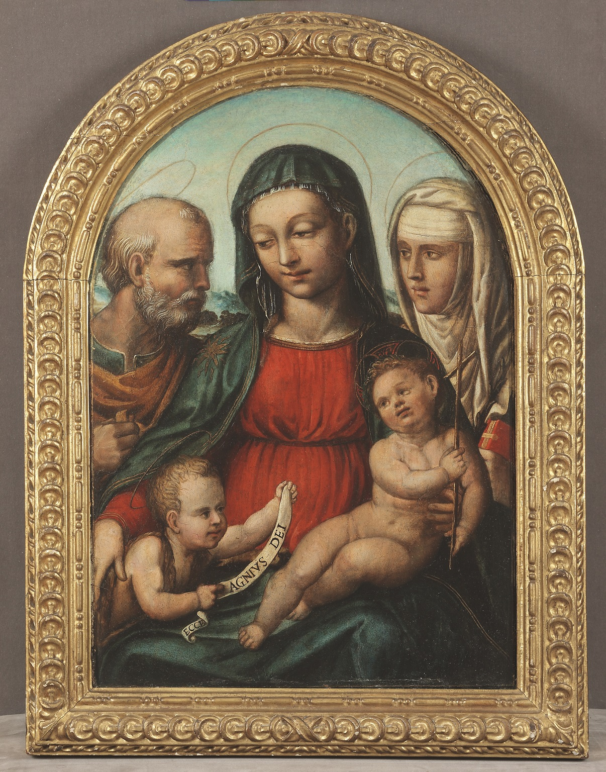BARTOLOMEO DI DAVID   (Siena, 1482 – 1545/6)     Holy Family with St. John the Baptist and St. Catherine of Siena   Oil on panel  24 ¼ x 16 inches  (61.6 x 40.4 cm)