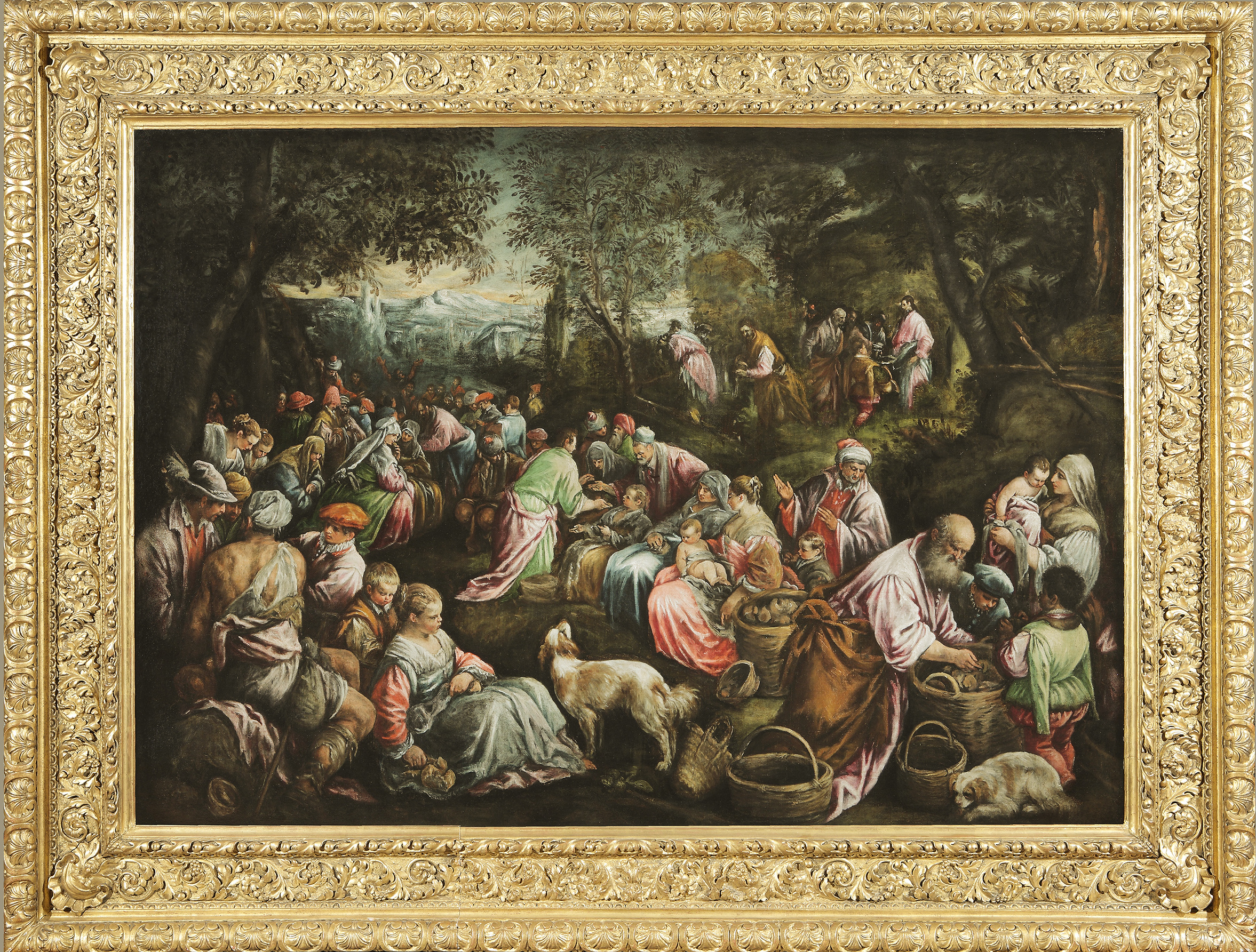 Jacopo da Ponte, called JACOPO BASSANO   (Bassano del Grappa, 1510 - 1592)    The Miracle of the Loaves and the Fishes    Oil on canvas 47 x 67 inches (119.5 x 170 cm)