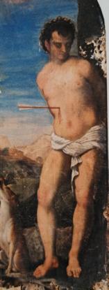 8) Cesare Vecellio, oil on canvas, 230 x 130 cm. Saints Roch and Sebastian, ca. 1580-90, Vigo di Cadore, Beata Vergine della Difesa.